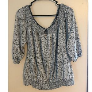 Lucky Brand Floral Print Smocked Blouse Large